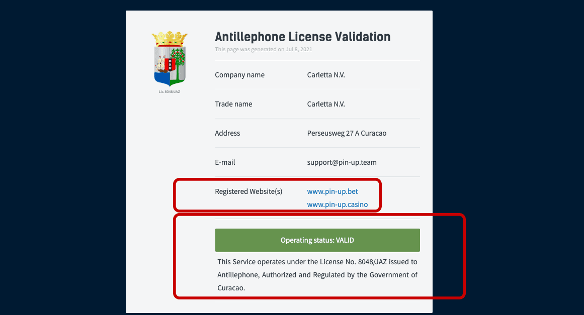 Лицензия онлайн казино Пин Ап
